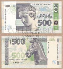 Grecia 500 DRACME 2014 UNC Specimen Test Note Ologramma BANCONOTA