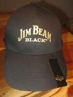 Jim Beam Black Whiskey Mens Baseball Cap, Hat, Black, Clip, Strapback, EUC