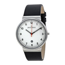 Skagen SKW6024 Ancher White Dial Black Leather Quartz Mens Watch