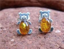 Amber Butterfly Oval Sterling Silver Fine Earrings
