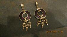 Dangle Pierced Earrings Edgar Berebi Purple/Goldtone