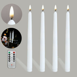4x Flickering LED Candles Taper Light Remote Battery Operated Wedding Christmas