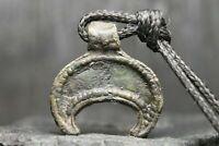 Amulette de lune en bronze antique, pendentif rare, 6ème-11ème siècle après JC