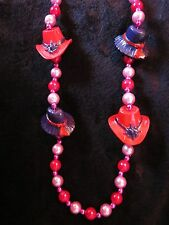 """"""" 00004000 Purple & Red Hat Society"""" Mardi Gras Necklace Bead - 2 Styles of Hats (B454)"""