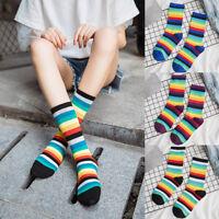 Women Multicolor Stripe Socks Mid Tube Socks Cotton Retro Style Rainbow Socks