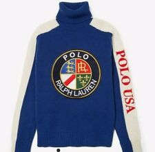 Polo Ralph Lauren Funnel Neck Crest Knit cookie badge jumper sweater CP 93