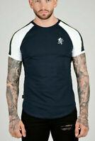 Gym King Mens New Short Sleeve Retro Stripe Designer T shirt Tee - Navy Nights