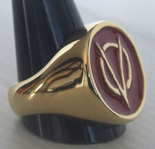 Bronze V for Vendetta Biker Ring Red Enamel Custom Size Anarchist R-120b