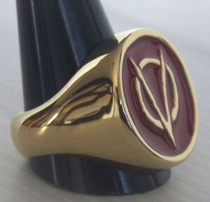 Bronze V for Vendetta Biker Ring Red Enamel Custom Size Anarchist R-120b