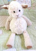 "Scentsy Lenny the Lamb Sheep Stuffed Cream Beige Ribbed Plush EUC 16"""