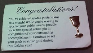 Mary Kay Gold Goblet Tack Pin from Years Ago