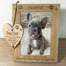 Personalised Pet Photo Frame + Wooden Plaque Gift Dog Puppy Engraved Keepsake