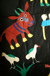 1950s African Folk Art  Outsider Art Handsewn Story Tapestry Death Farming 61x38