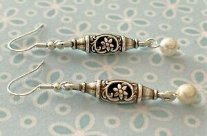 "Brighton OAKBROOK Oak Brook Silver Flower & Ivory Pearl Beads Custom Earrings 2"""