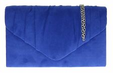 New Womens Faux Suede Designer Handbag Wedding Prom Party Pleated Shoulder Chain