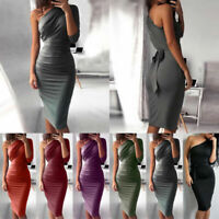 Women Bodycon Dress One Shoulder Midi Pencil Dresses Evening Party Cocktail Club