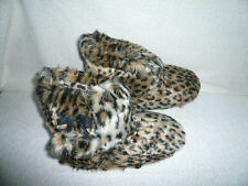 WOMENS BOOT SLIPPERS SIZE 7-8 UK ANIMAL PRINT FUR LINED BY COOLERS GIFT IDEA