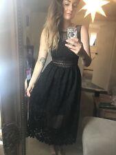 Miss Selfridge Black Lace Midi Dress Uk8