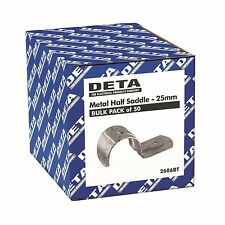 Deta METAL CONDUIT HALF SADDLE 25mm 50Pcs, Zinc Plated Steel - Australian Brand