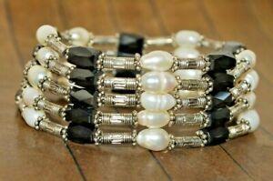 New High Grade Genuine Pearl bracelet w/ Magnetic Hematite- Liquidation - A4587c