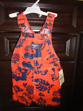 Boys OshKosh Shortalls 9M NWT Orange Blue Floral OVERALLS