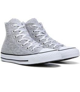 Women's Converse All Star Sparkle Knit High Top Shoes Gray Silver