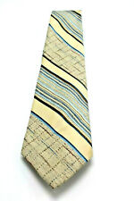 Andhurst men necktie Ivory with Blue Stripe Classic Retro Tie 58""