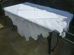 """superb large Mary Card design hand made tablecloth 70"""" square"""
