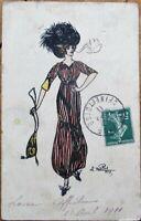Cigarette-Smoking Fashion Woman w/Purse 1911 Artist-Signed French Postcard