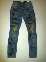 ZARA NWT Blue Jeans Sz 30 Safety Pin Distressed Graphic Skinny Fit Stretch