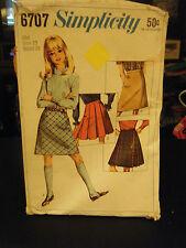 Simplicity 6707 Girl's Set of Skirts Pattern - Size 10 Waist 24