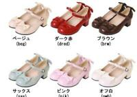 Womens Strap Med Heels Block Buckle Lolita Bowknot Cosplay Mary Janes Shoes LITG