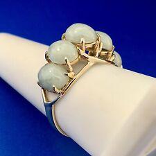 Vintage Designer SANUK 14K Yellow Gold Jade Jadeite Waterfall Dome Ring