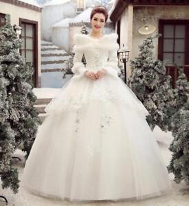 New Chic Womens Korean Wedding Dress Cotton Long-Sleeved Fur Collar Bridal Dress