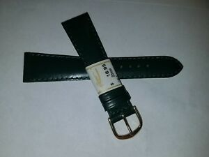 New ZRC France Made Green Calfskin Leather 20mm Watch Band Gold Tone Buckle