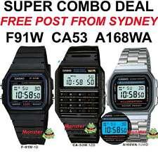 COMBO DEAL FREE POST FROM SYDNEY CASIO RETRO 1 x F91W + 1 x CA53W 1 X A168WA