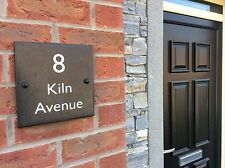 Deep Engraved High Quality Slate House Door Sign 200mmX 200mm Number and Address