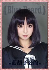 Sailor Moon Saturn Hotaru Tomoe short Black Purple Hair Cosplay Costume Wig