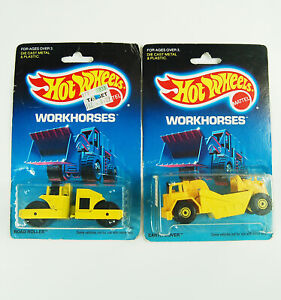 Hot Wheels Workhorses Road Roller 3853 and Earth Mover 3715 1:64 1989