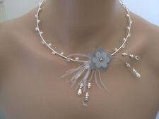 Collier Ivoire/Gris/Cristal Fleur robe Mariée/Mariage/Soirée perles pas cher