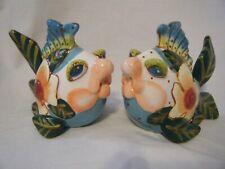 New Diane Kissing Fish Salt Blue Sky Clay Pepper Shakers Alebrijes Flower Nwob