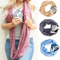 Women Winter Convertible Infinity Scarf With Pocket Loop Scarf Zipper Pocket