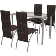 Set Sala Da Pranzo con Tavolo e 4 Sedie Colore Marrone Set 5 Pezzi