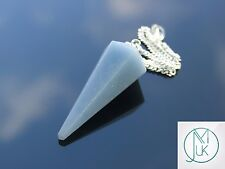 Angelite Gemstone Point Pendulum Dowsing Crystal Dowser Chakra Healing