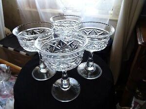 Set of 4 vintage stemmed sundae glasses  275 ml
