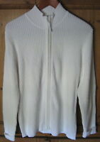 Cherokee Women's Sweater Cardigan Ribbed Fitted Zip Off White Size X Large