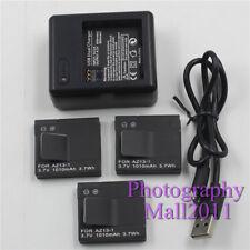 3x Battery For Xiaomi Yi AZ13-1 Battery+Dual Charger For Xiaomi Yi Sports Camera