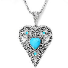 Tibetan Silver Turquoise Stone Crystals Heart Pendant Chain Necklace UK N11