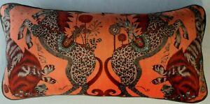 Emma J Shipley CASPIAN CORAL VELVET cushion  **FREE FEATHER PAD**60cmx30cm 2