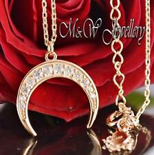 925 Silver Rose Gold Plated Chain Necklace Pendant CRESCENT With Zirconia